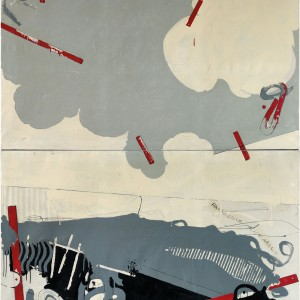 Paesaggio anemico, 1964, pencil and enamel on canvas, diptych, 220 x 200 cm