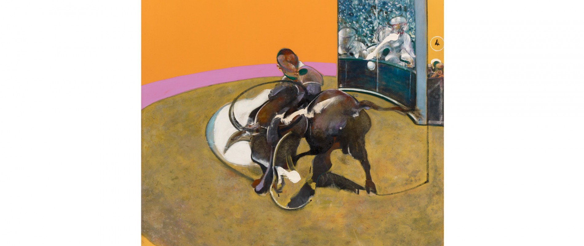 FRANCIS BACON Study for Bullfight No. 1, 1969 Oil on canvas, 197.7 x 147.8 cm Private collection © The Estate of Francis Bacon. All rights reserved, DACS/Artimage 2020.  Ph: Prudence Cuming Associates Ltd